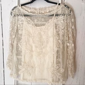 Sundance cream sheer lace blouse